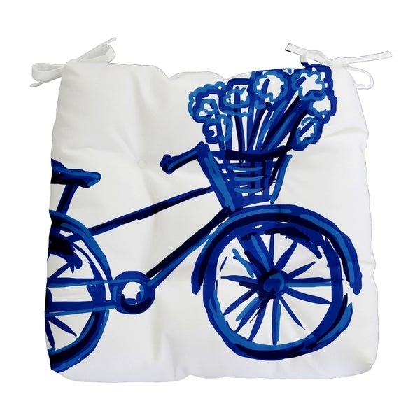 Large Novelty Bike Print Outdoor Seat Cushion