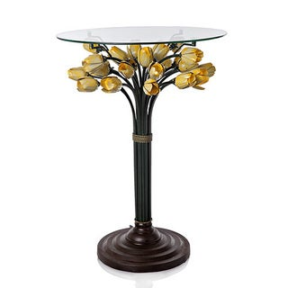 River of Goods LED Blooming Lights Glass Top Yellow Tulip Table
