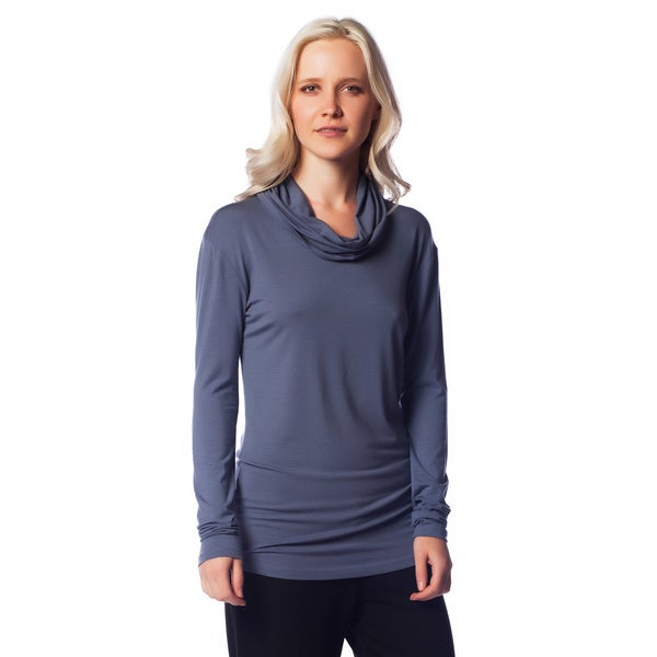 AtoZ Women's Modal Long Sleeve Cowl Neck Top