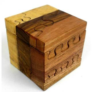 Handcrafted Tricolor Wood Cube Puzzle (India)