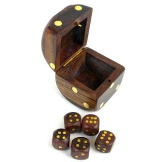 Handcrafted Sheesham Wood Box with Dice (India)