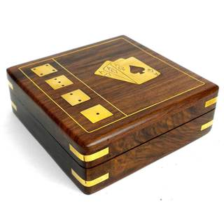 Handcrafted Sheesham Wood Card Box with Dice (India)