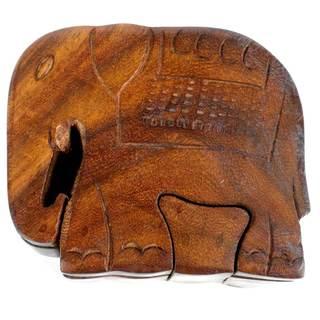 Handcrafted Sheesham Wood Elephant Puzzle Box (India)