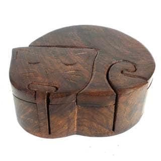 Handcrafted Sheesham Wood Sleeping Cat Puzzle Box (India)