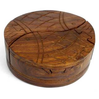 Handcrafted Sheesham Wood Round Fish Puzzle Box (India)