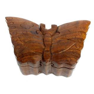 Handcrafted Sheesham Wood Butterfly Puzzle Box (India)