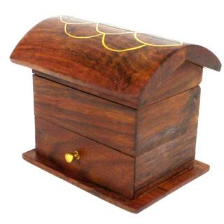 Handcrafted Tiny Wood Chest with Drawer (India)