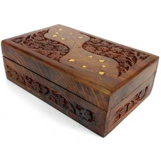 Handcrafted Carved Sheesham Wood Box with Brass Inlay (India)