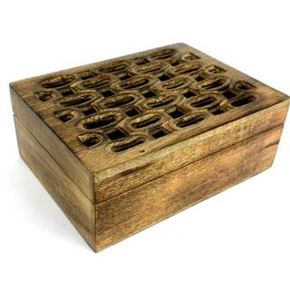 Handcrafted Carved Mango Wood Open Box (India)