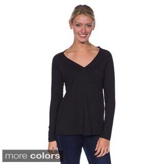 AtoZ Women's Basic Long Sleeve Cotton V-Neck