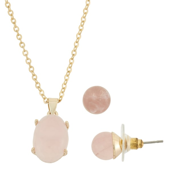 Semi Precious Gold Plated Necklace and Earring Set