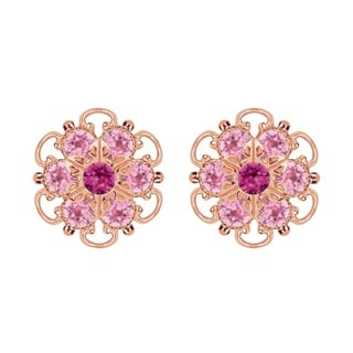 Lucia Costin Rose-gold Over Sterling Silver Fuchsia/ Light Pink Crystal Earrings