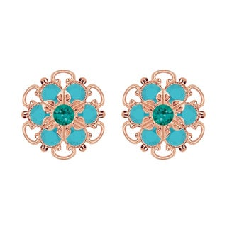 Lucia Costin Rose-gold Over Sterling Silver Green/ Turquoise Crystal Earrings
