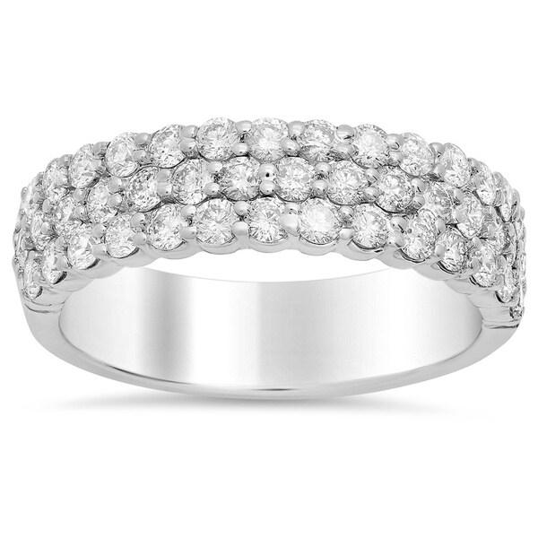 14k White Gold 1 1/3ct TDW Diamond 3-row Engagement Ring (E-F, SI1-SI2)