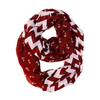 All Seasons Red/ White Anchor Chevron Print Infinity Loop Scarf