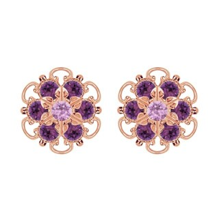Lucia Costin Rose-gold Over Sterling Silver Lilac/ Violet Crystal Earrings