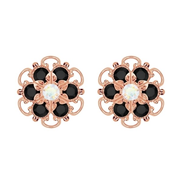 Lucia Costin Rose-gold Over Sterling Silver White and Black Crystal Earrings