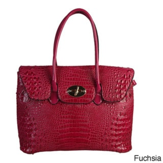 Rimen & Co. Crocodile Texture Turn-lock Top Handles Tote Handbag