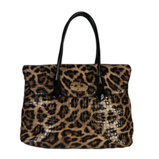 Rimen & Co. Turn-lock Animal Leopard Print Patent Leather Chic Large Tote Handbag
