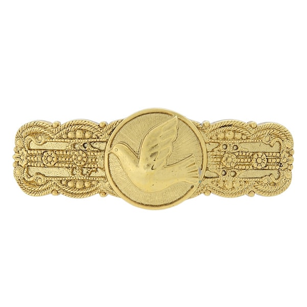 The Vatican Library Collection Goldtone Embossed Dove Barrette