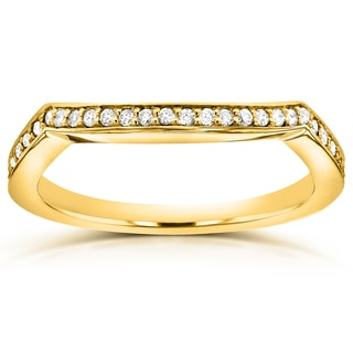 Annello 14k Yellow Gold 1/5ct TDW Diamond Curved Wedding Band (G-H, I1-I2)