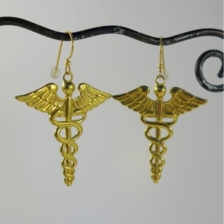 Brass Caduceus Symbol Dangle Earrings (Bali)