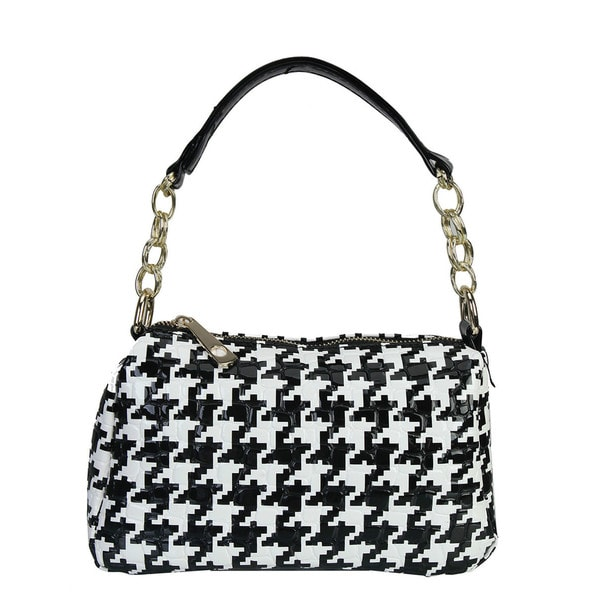 Diophy Metal Chain Hounds-tooth Pattern Cross Body Messenger Handbag