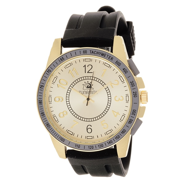 Zunammy Men's Goldtone Case / Black Rubber Strap Watch