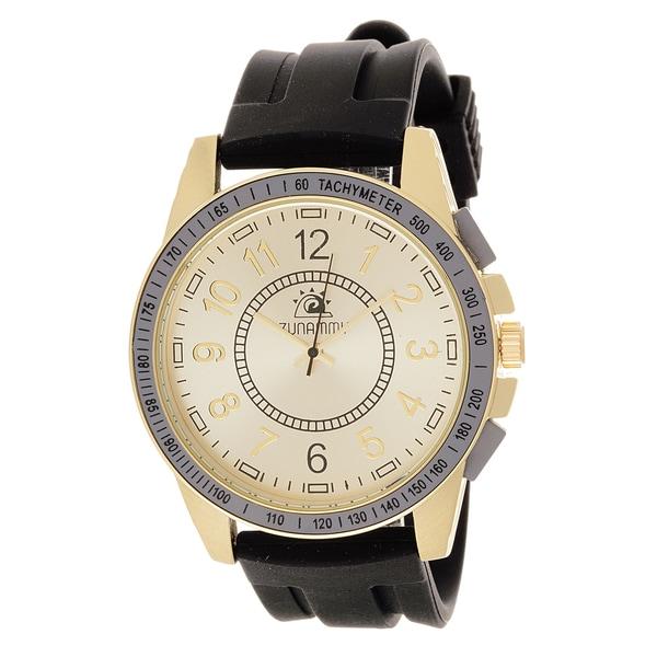 Zunammy Men's Goldtone Case / Black Rubber Strap Watch