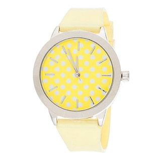 Fortune NYC Women's Silvertone Case Dot Dial / Yellow Plastic Strap Watch