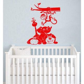 Funny Animals Monkey Giraffe Lion Vinyl Sticker Wall Art