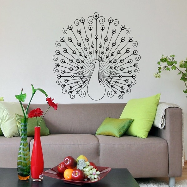 Peacock Vinyl Sticker Wall Art