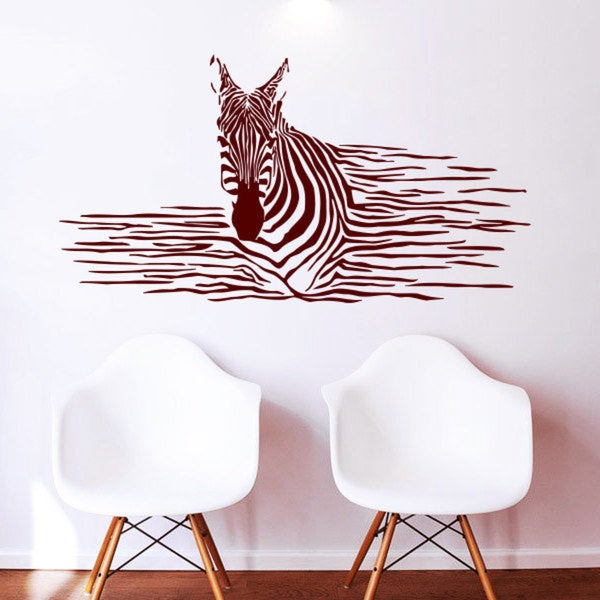 Burgundy Zebra Pattern Vinyl Sticker Wall Art
