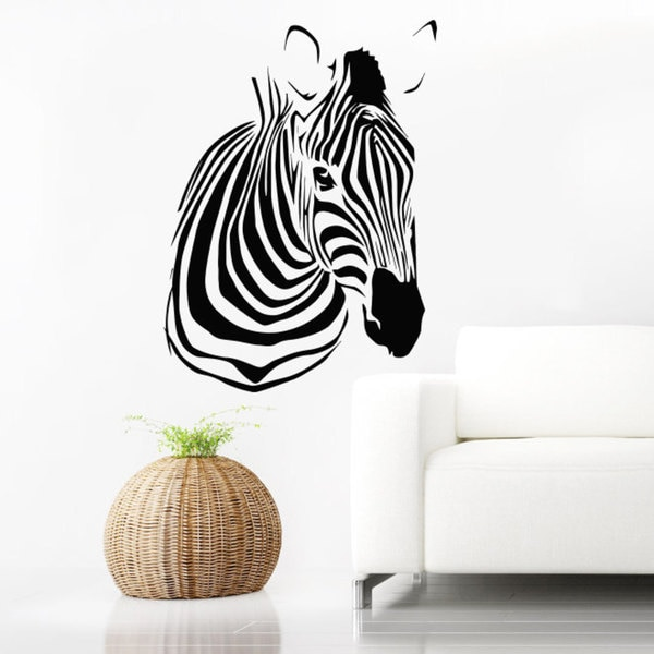 Zebra Head Print Vinyl Wall Art