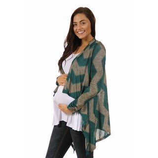 24/7 Comfort Apparel Women's Chevron Stripe Print Maternity Shrug