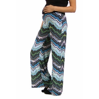 24/7 Comfort Apparel Women's Blue and Green Zig-Zag Maternity Palazzo Pants