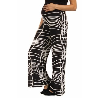 24/7 Comfort Apparel Women's Abstract Stripe Maternity Palazzo Pants