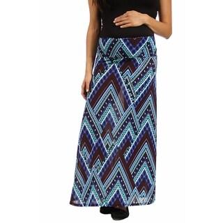 24/7 Comfort Apparel Women's Blue Triangular Maternity Mosaic Maxi Skirt