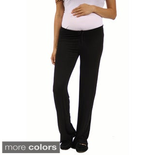 24/7 Comfort Apparel Women's Draw String Maternity Narrow Pants