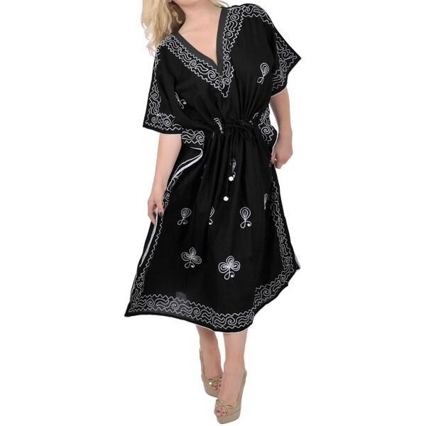 La Leela Women's Plus Size Designer Embroidered Night Black Long Kaftan Cover-up