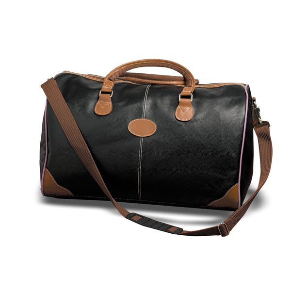 Weekender Deluxe Black and Brown Faux Leather Duffel Bag w/Pink Piping