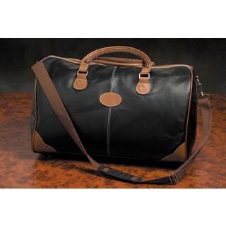Weekender Deluxe Black Faux Leather Duffel Bag
