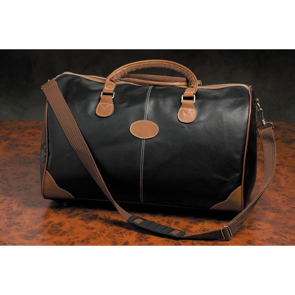 Weekender Deluxe Black Faux Leather Duffel Bag