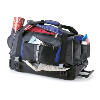 Ultra Wheeled 26-inch Blue Nylon Drop Bottom Rolling Duffel Bag