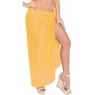 Women's Solid Yellow Sheer Chiffon Swim Sarong Cover-up