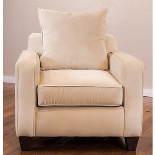 Somette Columba Velveteen Beige Club Chair