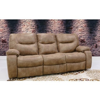 Somette Asbury Series Tan Weathered Action Fabric Reclining Sofa