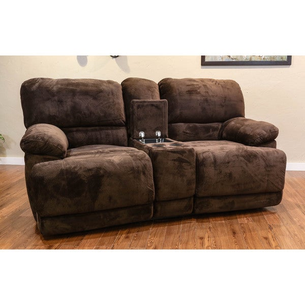 Somette Morganville Series Chocolate Microfiber Reclining Console Studio Sofa 17329727