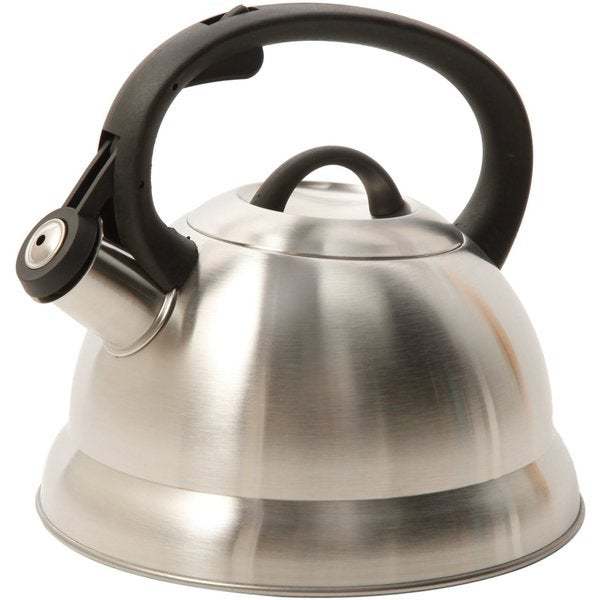 Mr Cofee Stainless Steel Brush Satin Whistling 1.75-quart Tea/Coffee Kettle