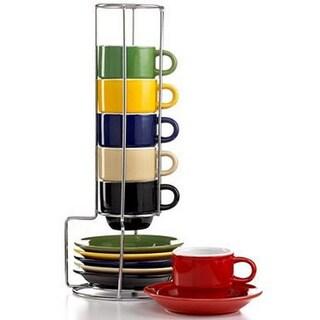 Sensation Stoneware 13-piece Espresso Set with Stand